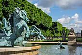 Fountain with four rearing horses, the four corners of the world, luxembourg gardens, 6th arrondissement, paris, france