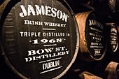 Casks and barrels of irish whiskey, the old jameson distillery, the old whiskey distillery, bow street, dublin, ireland