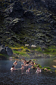 Bathing in a natural hot spring, volcanic and geothermal zone of landmannalaugar, the name literally means 'hot baths of the people of the land', region of the high plateaus, southern iceland, europe