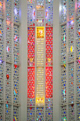 Stained glass in the choir of the sacred heart church, built in 1930 and turned into a cultural spot, arab league park, casablanca, morocco, africa