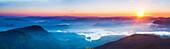 Adams Peak (Sri Pada) view at sunrise, mountains and the Maussakele Reservoir, Central Highlands, Sri Lanka, Asia