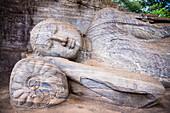 Reclining Buddha in Nirvana at Gal Vihara Rock Temple, Polonnaruwa, UNESCO World Heritage Site, Sri Lanka, Asia