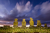 Preserved original moai in the Tahai Archaeological Zone on Easter Island (Isla de Pascua) (Rapa Nui), UNESCO World Heritage Site, Chile, South America