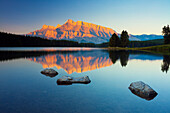 Mount Rundle reflected in Two Jack Lake at sunrise, Banff National Park, UNESCO World Heritage Site, Alberta, Rocky Mountains, Canada, North America