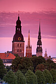 Dom Cathedral, St. Peter's Church, St. Savior's Anglican Church and The Academy of Sciences Building, Riga, Latvia, Europe
