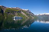 Cruise Boat on Fjord, Geiranger, Geiranger Fjord, UNESCO World Heritage Site, More og Romsdal, Norway, Scandinavia, Europe