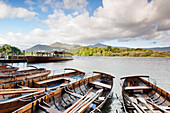 Rowing boats on Derwent Water, Keswick, Lake District National Park, Cumbria, England, United Kingdom, Europe