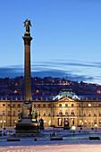 Column at Schlossplatz Square and Neues Schloss castle, Stuttgart, Baden Wurttemberg, Germany, Europe