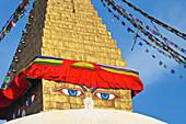All seeing eyes of the Buddha, Boudhanath Stupa, UNESCO World Heritage Site, Kathmandu, Nepal, Asia