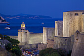 Old Town walls at dusk, UNESCO World Heritage Site, Dubrovnik, Dalmatia, Croatia, Europe