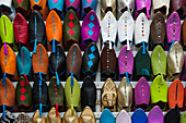 Colorful rows of leather shoes in a shop on the babouche suk of Marrakech, Morocco