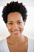 Close up portrait of smiling Black woman, Jersey City, New Jersey, USA