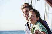 Caucasian couple relaxing on sailboat, Cape Town, Western Cape, South Africa