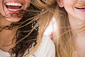 Close up of women's hair blowing in wind, Jersey CIty, New Jersey, USA