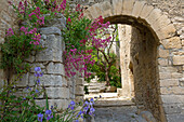 France, Vaucluse (84), Crestet picturesque village with its cobbled streets, stone houses and ornate fountain, situated at near Vaison la Romaine