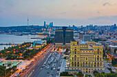 Azerbaijan, Baku City, Government House and Baku Bay