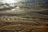 France, Pas-de-Calais (62), Authie Bay, quicksand in the estuary (aerial view)
