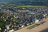 France, Calvados (14), Trouville-sur-Mer, Deauville seaside tourist resorts of the Côte Fleurie (aerial view)