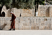 Muslim outside the Dome of the Rock. Jerusalem. Israel.