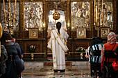 Basilica of the Nativity. Orthodox mass. Israel.