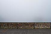 France, Paris, 75, 1st ARRT, padlocks of love on the Pont des Arts, fog.