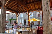 France, Limousin, Haute Vienne (87), Mortemart, covered market