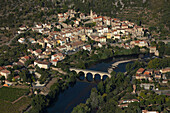 France, Herault (34) Roquebrun village in the valley of the Orb (aerial photo)