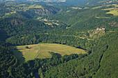 France, Puy-de-Dome (63), Gorges Sioul, Castle Rock, Castle Blot-the-Rock (aerial view)