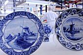 Netherlands, Delft, The royal delft porcelain factory porcelain. Porcelain Tableware of Delft