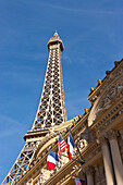 The Famous Las Vegas Strip With The Paris Hotel And Casino Along Las Vegas Boulevard In Nevada