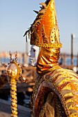 'Person in Venetian costume during Venice Carnival; Venice, Italy'