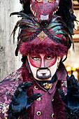 'Person in Venetian costume during Venice Carnival; Venice, Italy'