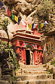 'The great Buddhist mahasiddhas, Tilopa and Naropa, sadhu-yogins of the tenth century, meditated in these caves carved out of living rock; Pashupathinath, Nepal'