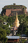 'Huge cracks cut through the brick facade of the unfinished Mingun Pagoda that was destroyed by an earthquake; Mandalay, Burma'