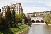 'Pulteney Bridge, River Avon and Empire Hotel; Bath, England'