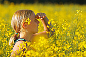 Young Girl In A Field Of Yellow Flowers