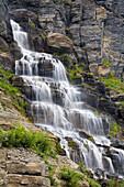 Waterfall Near Logan Pass, Glacier National Park, Kalispell, Montana, Usa