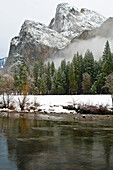 Cathedral Rocks In Winter, Yosemite National Park, California, United States Of America