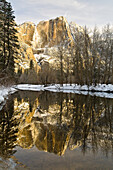 Mountains Reflecting In Merced River In Winter, Yosemite National Park, California, United States Of America