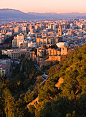 Malaga, Costa Del Sol, Spain, View Of The City And Walls Of The Alcazaba