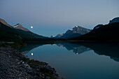 Moonrise, Waterfowl Lake, Banff National Park, Banff, Alberta