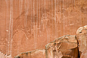 'Utah, United States Of America; Indian Rock Art In Capitol Reef National Park'