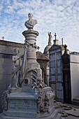 'Buenos Aires, Argentina; Stone Statues On A Mausoleum In Recoleta Cemetery'