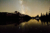 'Oregon, United States Of America; Milky Way Over Mt. Jefferson Reflected In Russell Lake'