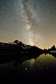 'Oregon, United States Of America; Milky Way Over Mt. Jefferson'