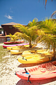 'Roatan, Bay Islands, Honduras; Kayaks On The Beach At Anthony's Key Resort'
