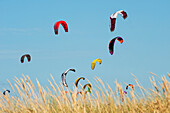 'Kites Of Kite Surfers In Front Of Hotel Dos Mares; Tarifa, Cadiz, Andalusia, Spain'