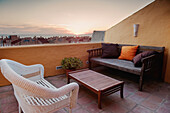 'Furniture On An Outdoor Patio Near Los Lances Beach; Tarifa, Cadiz, Andalusia, Spain'