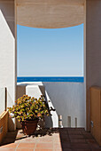 'View Of The Ocean From A Patio; Tarifa, Cadiz, Andalusia, Spain'