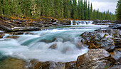 'Waterfall In Sheep River In The Canadian Rocky Mountains; Kananaskis, Alberta, Canada'